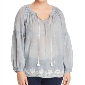 Vince Camuto 3X Light Blue Embroidered Gauze Top